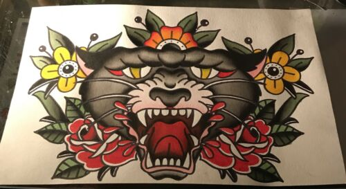 11x17 Watercolor Painting Old School Traditional Tattoo Flash Black Panther Rose - $20.00