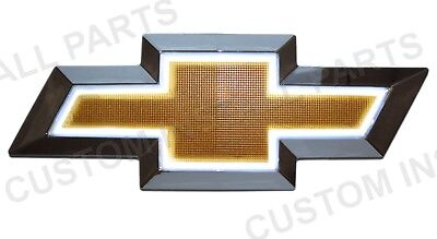 Illuminated LED Front Grille Bowtie Gold White Emblem Badge Light Up Fits Chevy