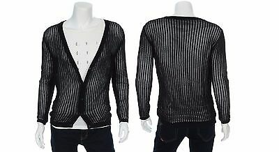 TBJ Mens Casual Button Front Fishnet Mesh Cardigan Jacket Navy Size M NWT