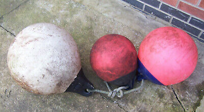 Vintage large marker buoys fishing net float buoy lobster pot markers mooring x3