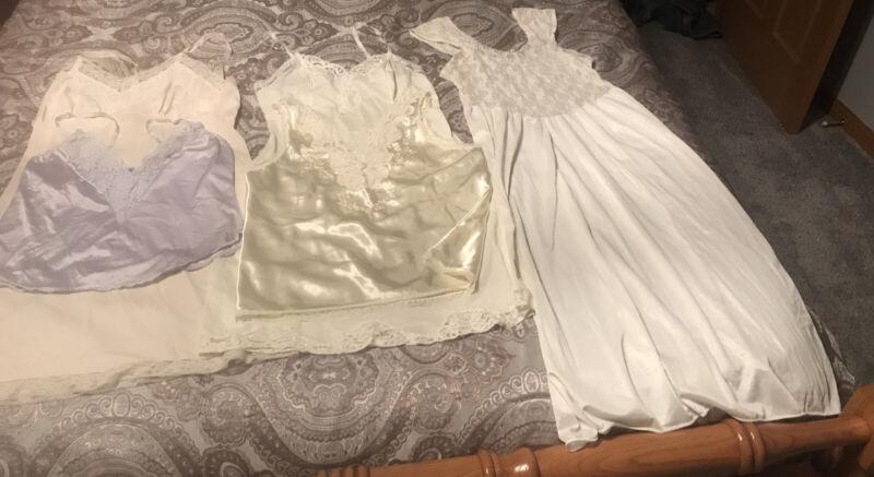 Ladies Vintage 5pc Longerie Lot Slips Cammies Nightgown Lots Of Lace 36-38 Gaymo