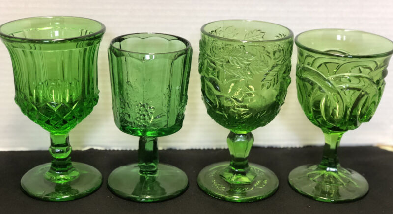 4 Green Early American Pressed Glass Goblets LG Wright, Fenton, Duncan Miller