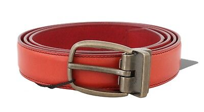NEW $350 DOLCE & GABBANA Belt Red 100% Leather Gold Buckle s. 85cm / 34in