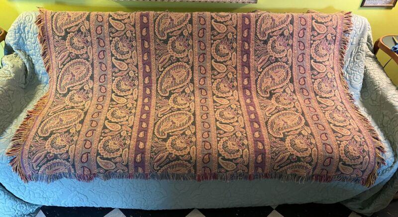 "Vintage Paisley Flower Tapestry Throw Fringe 62"" x 42"" Reversible"