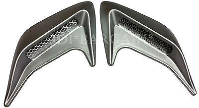 2 x Car Side Bonnet Air Intake Flow Hole Fender Grey Vent Sticker Trim DIY
