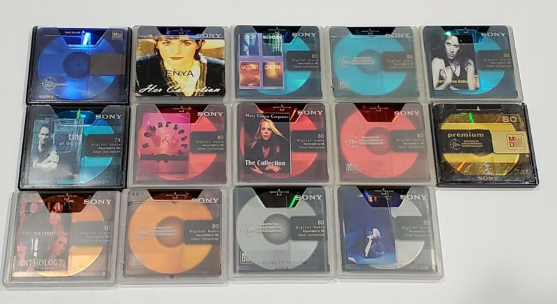 Sony Recordable MD MiniDisc Colors Collection With Cases- LOT OF 14!!
