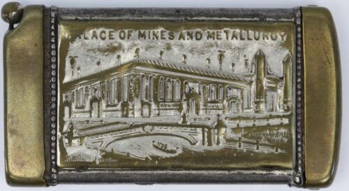 1904 St Louis Worlds Fair Palace of Mines and Metalurgy Match Safe Cigar Cutter