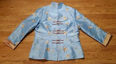 Tai Chi Uniform Top, Gi's, 12, Metallic Blue Color, Nice Floral Pattern