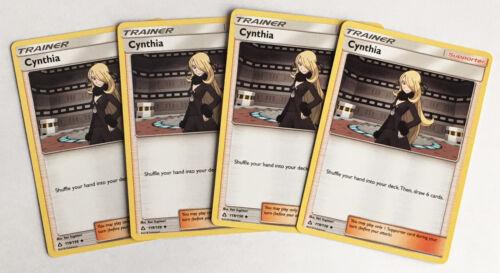 4x CYNTHIA 119/156 Pokemon TCG : S&M Ultra Prism Supporter -