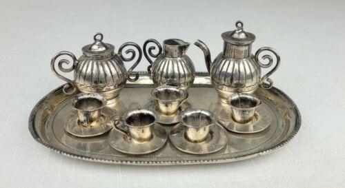 Antique Dutch .833 Silver Miniature Tea Set Service On Serving Tray Hallmarked
