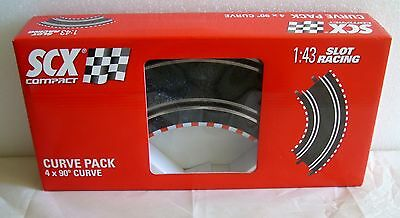 New In Box Scx Compact Slot Car 1 43 90 Degree Curve Pack Set Of 4 Tracks  31380