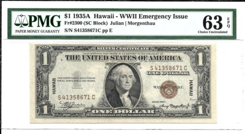 FR 2300 $1 1935 A SILVER CERTIFICATE HAWAII WWII EMERGENCY ISSUE PMG 63 EPQ