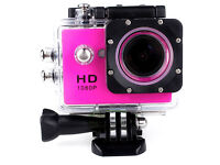 PINK 1080p Action Sports Camera 30m Waterproof HD & Mounting DV Cam!