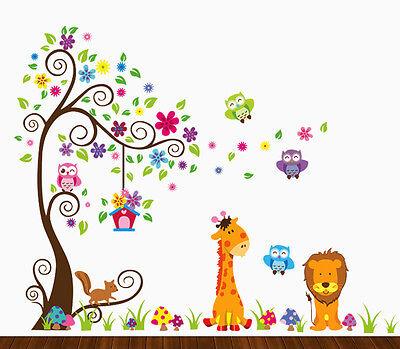 Kids Decor Jungle Theme Peel & Stick Baby Nursery Large Wall Decal Multi-color