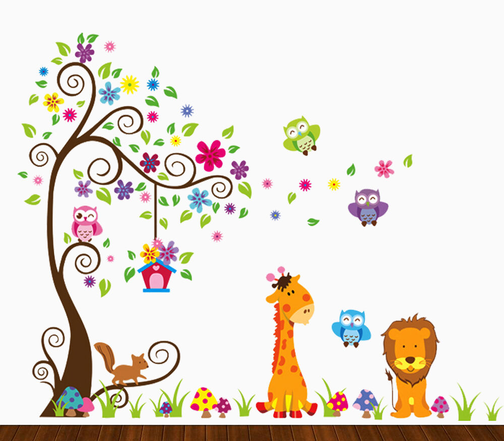 DEKOSH Kids Jungle Theme Peel and Stick Wall Decal, Colorful