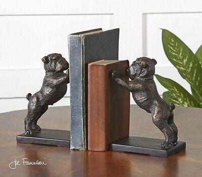 Bulldog Bookends Bronze Finish Cast Iron Book Ends Winston Pug Dog Uttermost