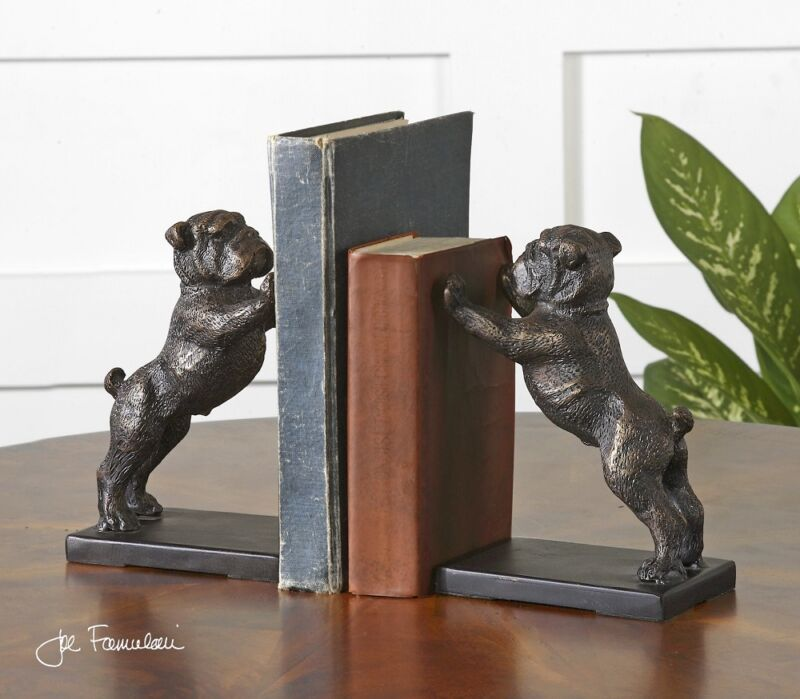 Bulldog Bookends Bronze Finish Cast Iron Book Ends Winston Dog ~ Uttermost 19643
