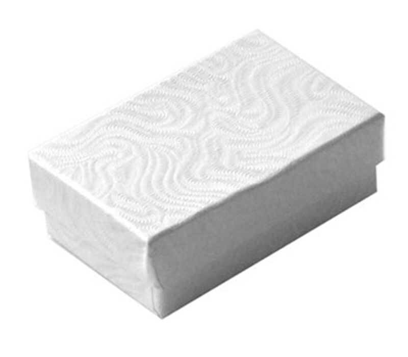 """100 Small White Swirl Cotton Filled Jewelry Gift Boxes  1 7/8"""" x 1 1/4"""" x 5/8"""""""