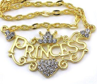 Crown Princess Tiara Heart Choker Necklace Clear Crystal Gold Tone Kids Pendant