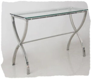 Absa 1200x405 Glass Hall Table  - Polished Stainless Steel - BRAND NEW