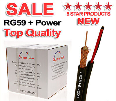 RG59 CCTV Cable Power 18/2 Video 20AWG Siamese Security Camera Wire Black 500ft