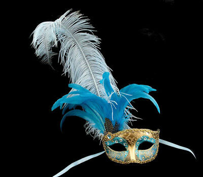 Mask from Venice Colombine IN Feathers Ostrich Blue Golden French Can - 857