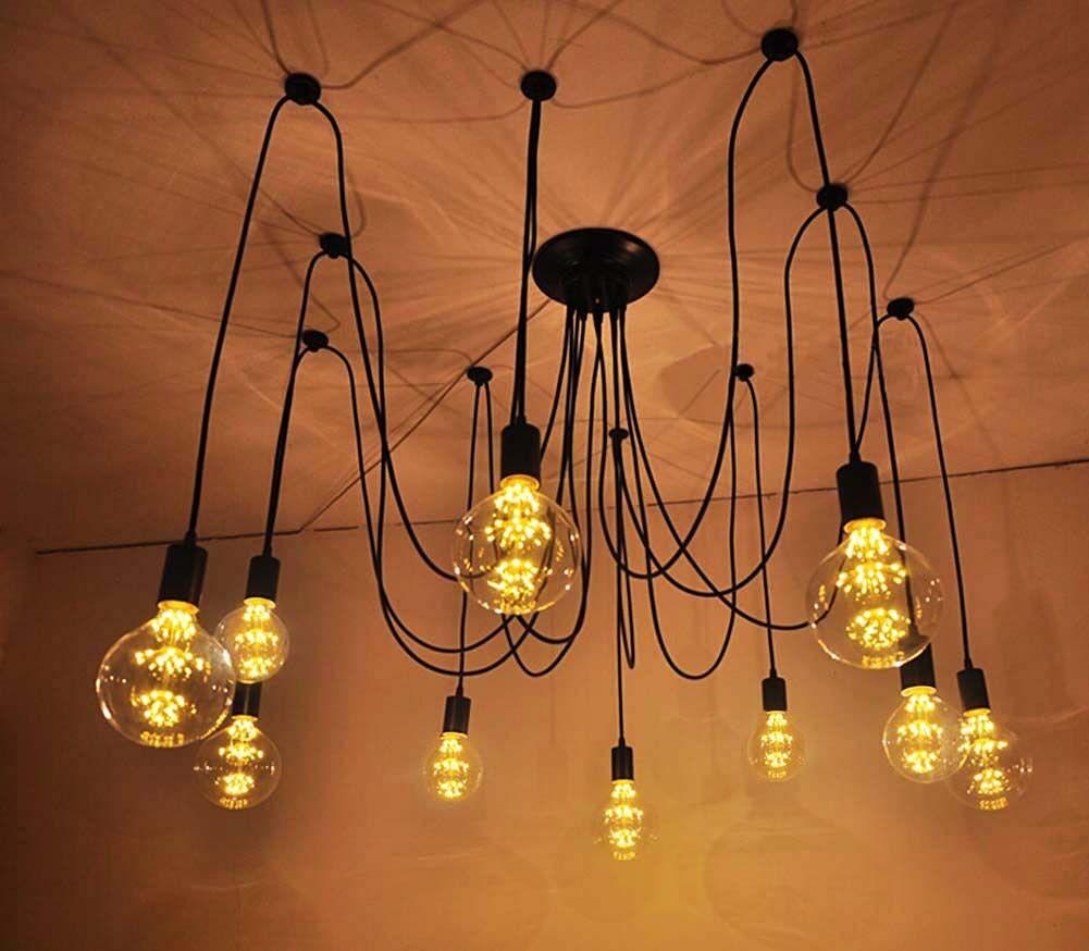 Led Chandelier Bulbs: Industrial White Metal Ceiling Lamp Pendant Light
