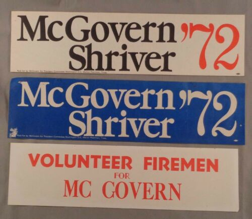 Lot of 3 1972 McGovern Shriver Presidential Campaign Bumper Stickers