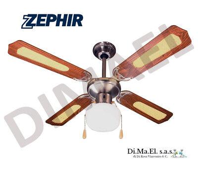 ZEPHIR ZFS9107M Ventilatore da soffitto 4 Pale diametro 107cm 3 velocità MARRONE