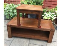 Coffee table / TV Unit & Lamp Table, Acacia Hardwood.