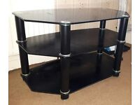 Television Stand - Black Glass. Excellent condition