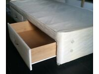 single size divan bed base with 2 storage drawers 190 x 90cm. in good clean condition.