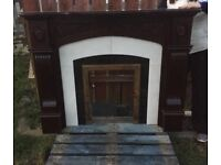Mahogany and marble fireplace PRICE DROP £70