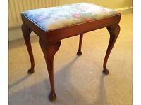 Vintage upholstered dressing table stool on cabriole legs