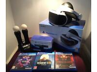 Playstation VR, Headset, 2 move controllers, charging port, 3 games, camera, nearly new,