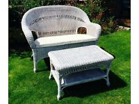 White natural rattan conservatory sofa and coffee table