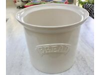 CERAMIC BREAD BIN, USED AS OUTDOOR GARDEN PLANTER, JARDINIERE, WHITE GLAZED, KITCHEN ORNAMENT