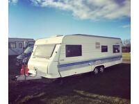 2004 HOBBY EXCLUSIVE TWIN AXLE FIXED BED 5/6 BERTH TOURING CARAVAN