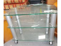 Clear Glass 3 tier TV Stand on wheels RF6308 £15