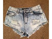 Light Denim Acid Wash Shorts