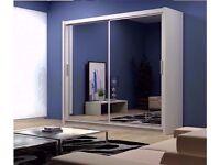BERLIN Sliding Wardrobe with Full Mirror 2 Door 203cm Living Room vailable IN 4 COLORS