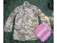 British Army 1995 SF Issue Desert Pattern Windproof Smock + FREE Shemagh Scarf