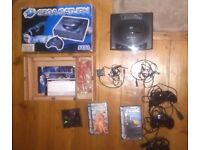 Sega Saturn Model 1 - With Box, Instructions, 3 Controllers, 3 Games, RF Unit & Plug Cables