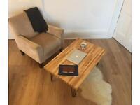 Custom Solid Hardwood European Alder Coffee Table With Hairpin Legs