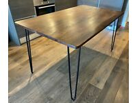 Hairpin leg Rectangular Dining Table, Solid Elm Wood Top dark stained - Black legs