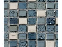 Torino Glass Mosaic bathroom tiles - 2 new sheets plus extra off cuts