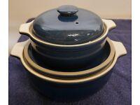 2 Denby Blue Ceramic Casserole Dishes