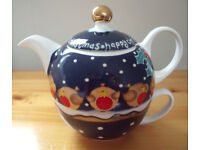 HAPPY CHRISTMAS robins,holly & snow,Arthur Wood-Jeanne MacDougall all-in-one 1 cup Xmas teapot & cup