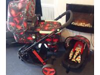Cosatto flamingo. Pram, stroller + car seat. Good condition. Suitable from birth