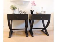 PAIR OF BEDSIDE TABLES / CABINETS Hand Painted (Excellent Condition)